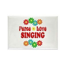 Peace Love Singing Rectangle Magnet