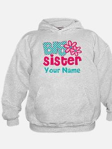 Big Sister Teal Pink Personalized Hoodie