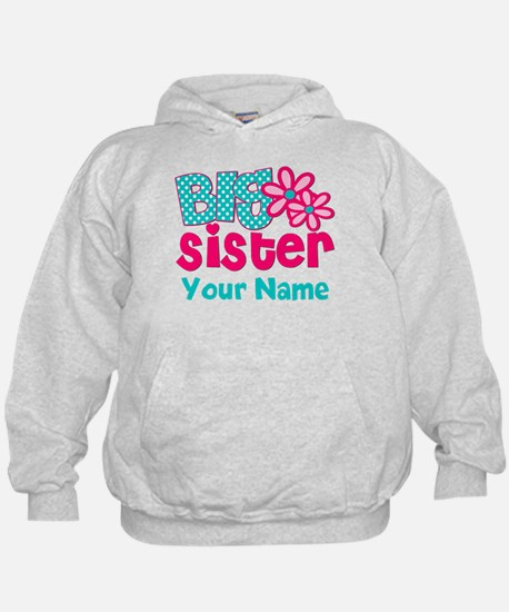 Big Sister Teal Pink Personalized Hoodie