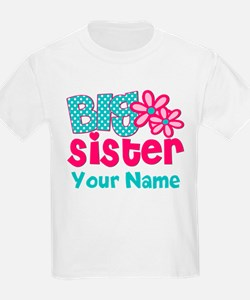 Big Sister Teal Pink Personalized T-Shirt