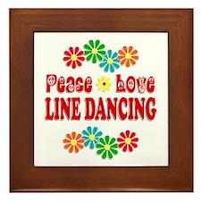 Peace Love Line Dancing Framed Tile