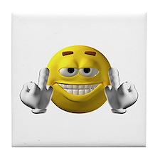 Rude Emoticon Finger Tile Coaster