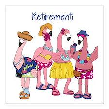 """Retired Flamingos Square Car Magnet 3"""" x 3"""""""