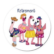 Retired Flamingos Round Car Magnet