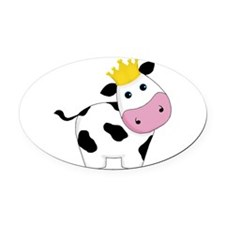 King Cow Oval Car Magnet