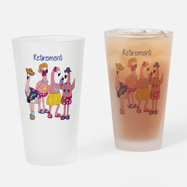 Retired Flamingos Drinking Glass