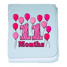 11 Months - Pink Zebra baby blanket