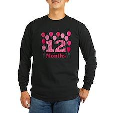 12 Months - Pink Zebra Long Sleeve T-Shirt