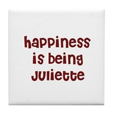 happiness is being Juliette Tile Coaster