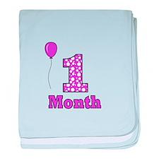 1 Month - Purple Polka Dot baby blanket