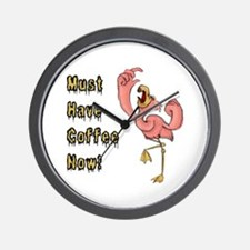 Flamingo Must Have Coffee Wall Clock