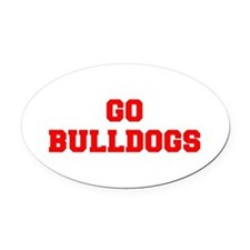 BULLDOGS-Fre red Oval Car Magnet