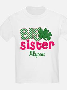 Big Sister Shamrock Personalized T-Shirt