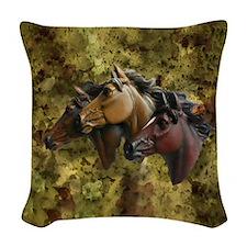 Horse Trio Woven Throw Pillow