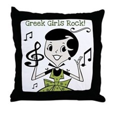 Greek Girls Rock Throw Pillow