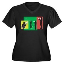 Plain Video Women's Plus Size V-Neck Dark T-Shirt