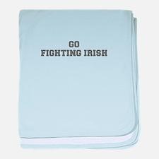 FIGHTING IRISH-Fre gray baby blanket