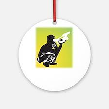 Kneeling Videographer Ornament (Round)