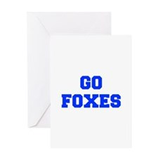 Foxes-Fre blue Greeting Cards