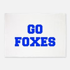 Foxes-Fre blue 5'x7'Area Rug