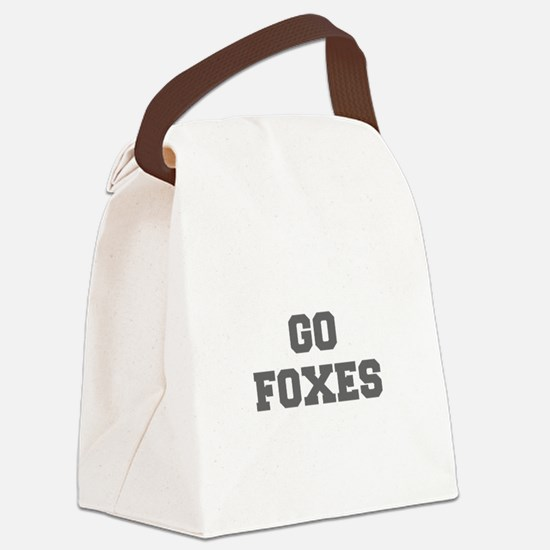 FOXES-Fre gray Canvas Lunch Bag