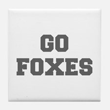 FOXES-Fre gray Tile Coaster