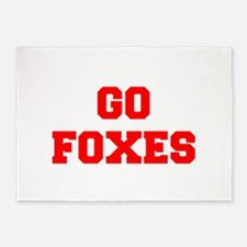 FOXES-Fre red 5'x7'Area Rug