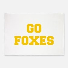 Foxes-Fre yellow gold 5'x7'Area Rug