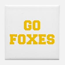 Foxes-Fre yellow gold Tile Coaster