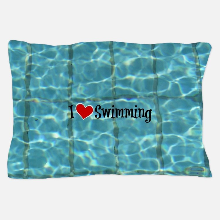 I Love Swimming  Pillow Case