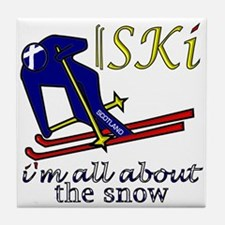 Scotland Ski fun dark design Tile Coaster