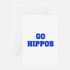 Hippos-Fre blue Greeting Cards