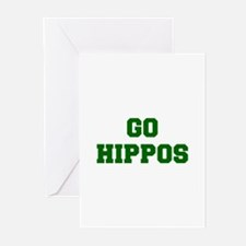 Hippos-Fre dgreen Greeting Cards