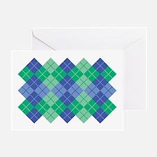 Blue-Green Argyle Greeting Card
