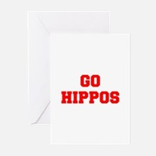 HIPPOS-Fre red Greeting Cards