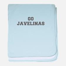 JAVELINAS-Fre gray baby blanket