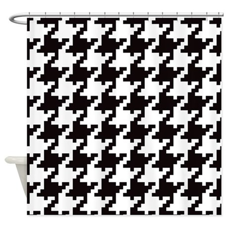 Pixel Houndstooth Shower Curtain