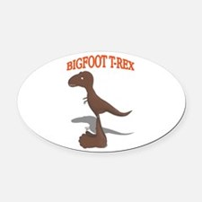 Bigfoot T-Rex Drawing Oval Car Magnet