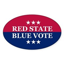 RED STATE BLUE VOTE Oval Decal