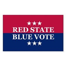 RED STATE BLUE VOTE Sticker (Rect.)