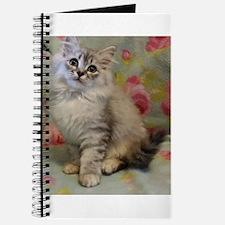 Silver Siberian Kitten floral background Journal