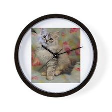 Silver Siberian Kitten floral backgroun Wall Clock