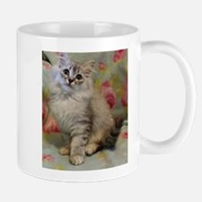 Silver Siberian Kitten floral background Mugs