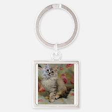 Silver Siberian Kitten floral background Keychains