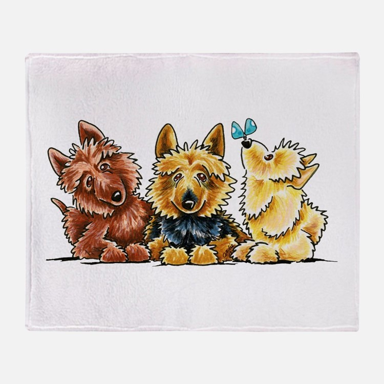 3 Australian Terriers Throw Blanket