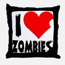 I Heart Zombies Throw Pillow