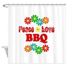 Peace Love BBQ Shower Curtain