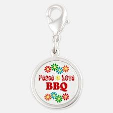 Peace Love BBQ Silver Round Charm