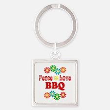 Peace Love BBQ Square Keychain