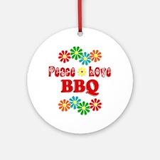 Peace Love BBQ Ornament (Round)